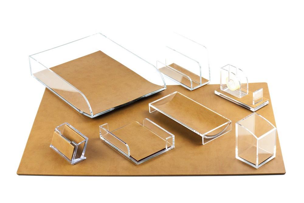 Schreibtischset 8 Teilig Lederimitat Vienna Hellbraun 1 Schreibunterlage 45x65 1 Briefablagekorb 1 Stifteköcher 1 Zettelkaten 1